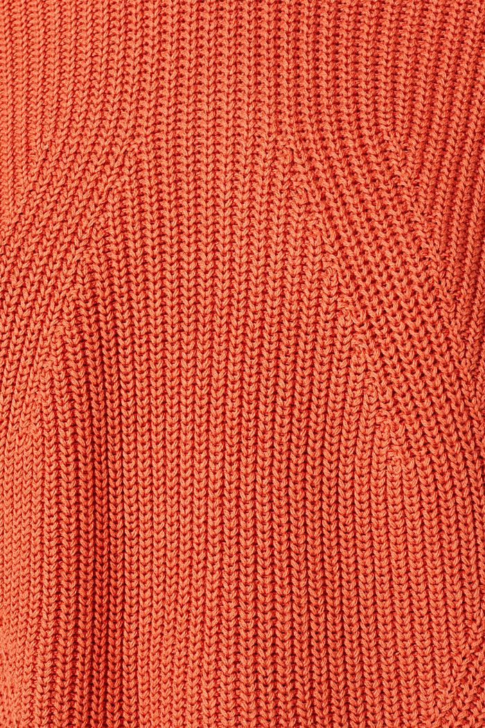 Melange textured jumper, 100% cotton, BURNT ORANGE, detail image number 4