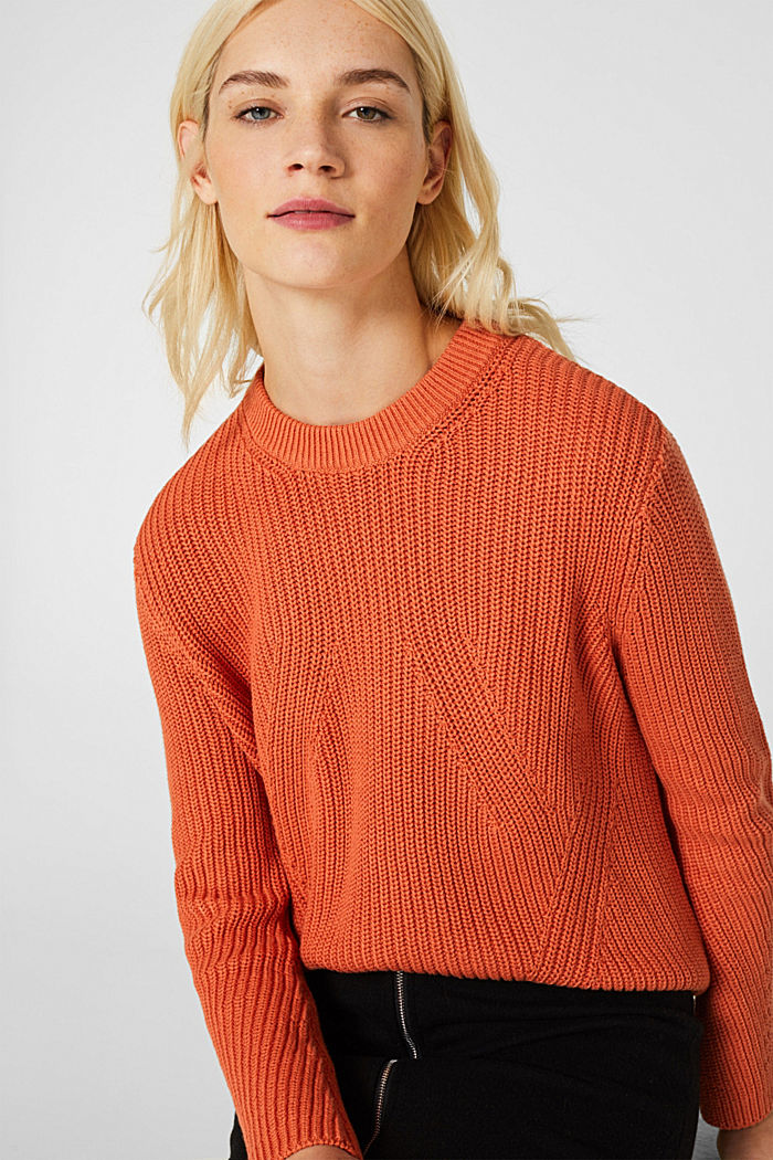 Melange textured jumper, 100% cotton, BURNT ORANGE, detail image number 5