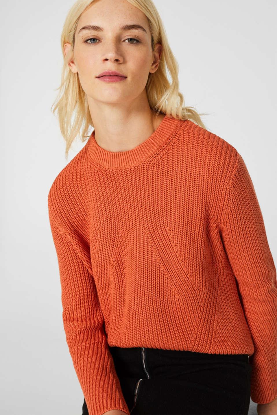 Melange textured jumper, 100% cotton, BURNT ORANGE, detail image number 5