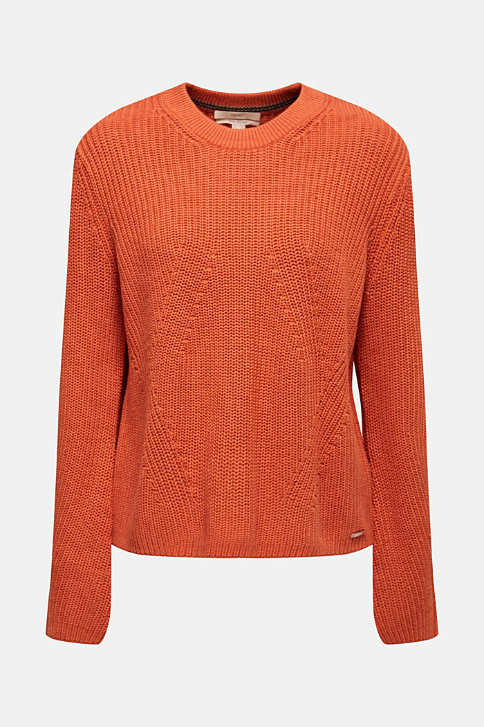 Melange textured jumper, 100% cotton, BURNT ORANGE, overview