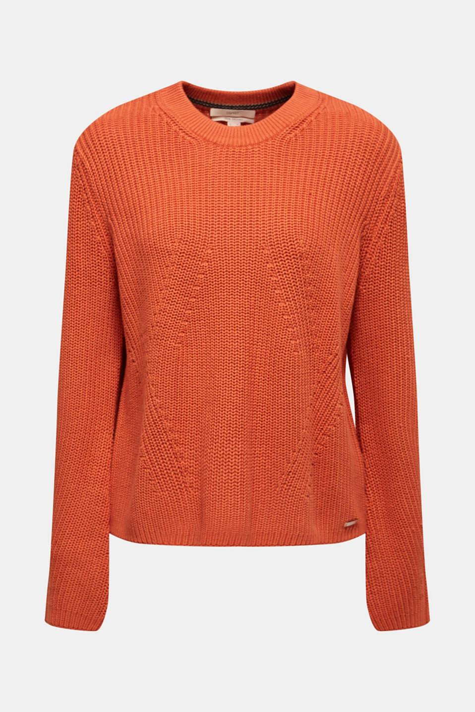 Melange textured jumper, 100% cotton, BURNT ORANGE, detail image number 6