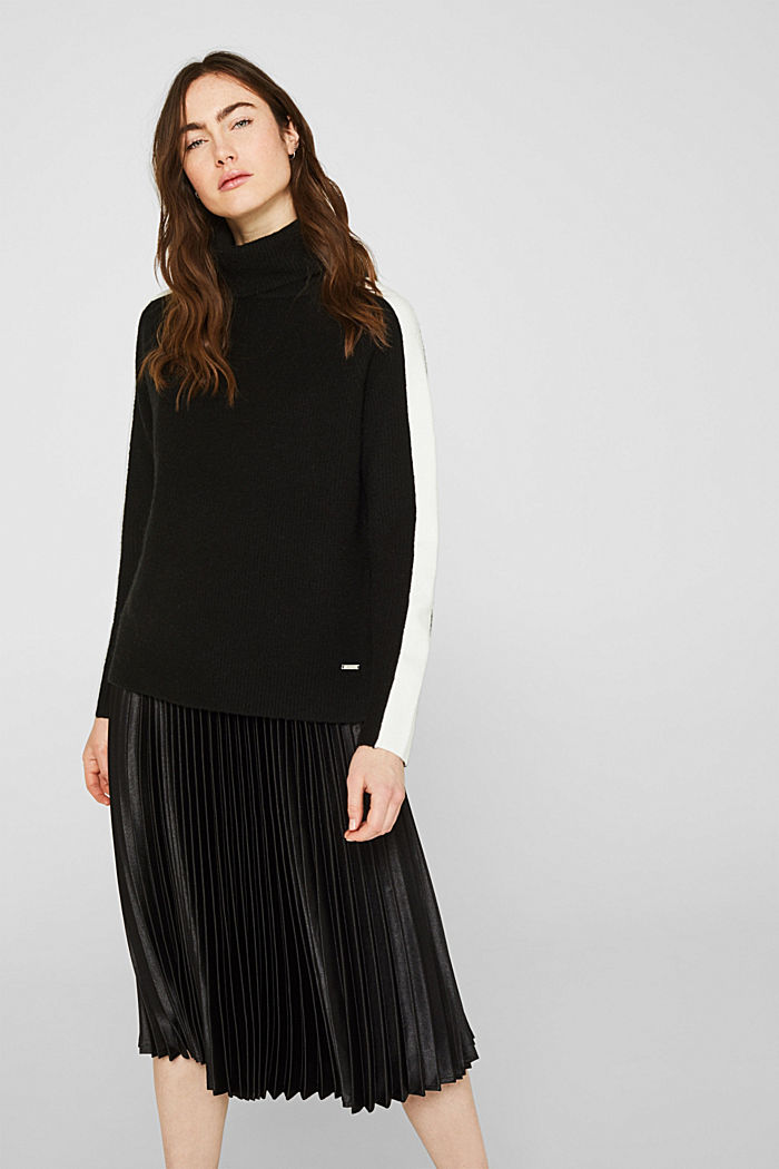 Polo neck jumper with racing stripes and wool, BLACK, detail image number 0