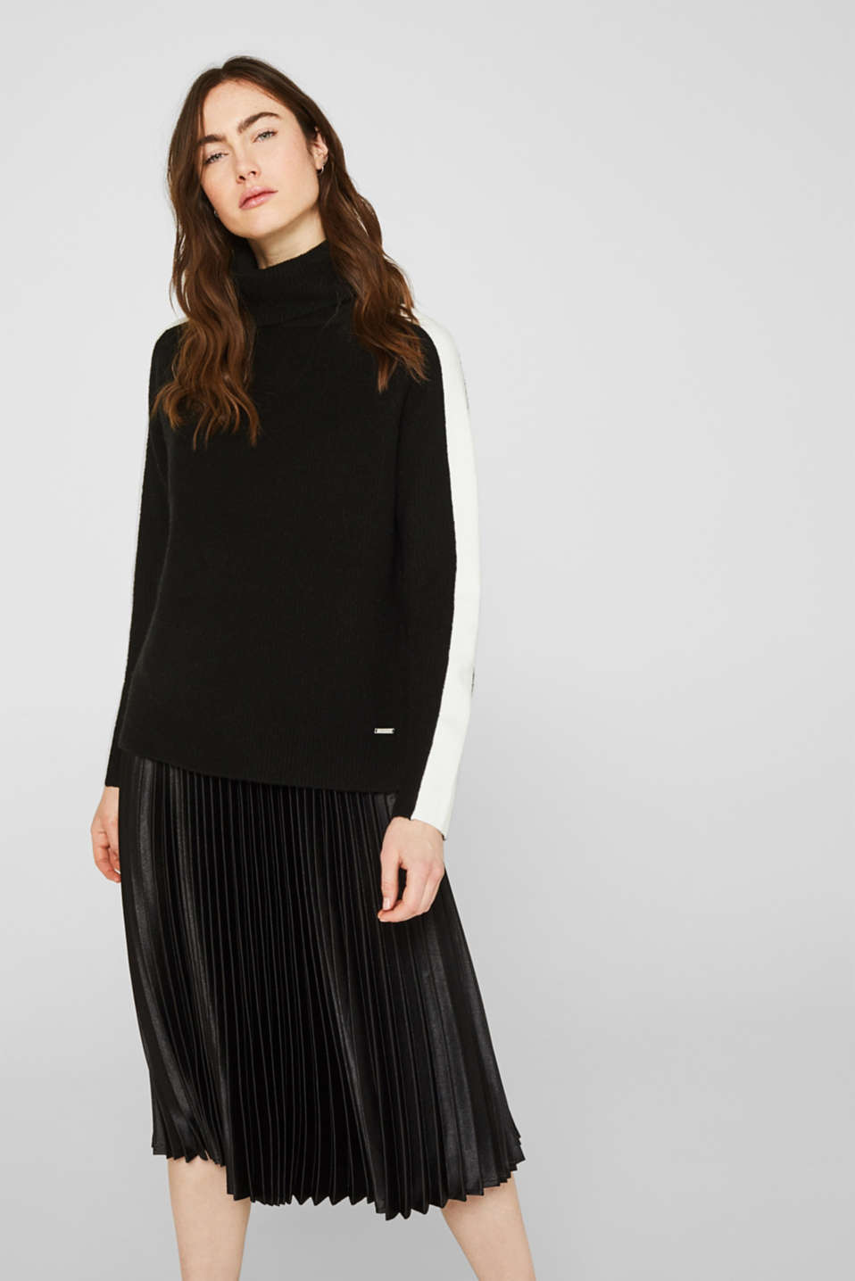 Polo neck jumper with racing stripes and wool, BLACK 2, detail image number 0