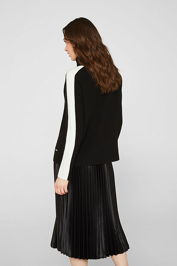 Polo neck jumper with racing stripes and wool, BLACK, detail image number 3