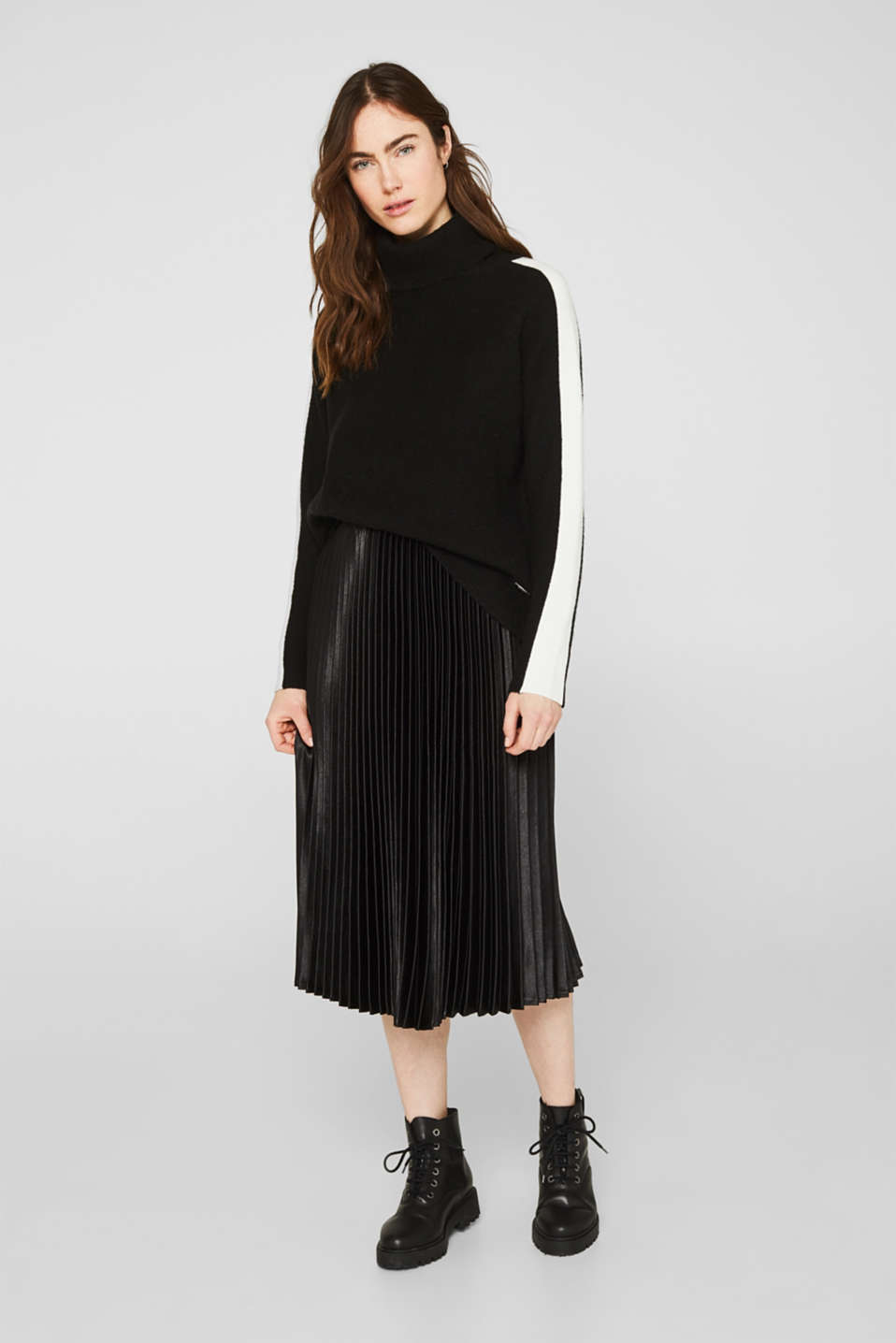Polo neck jumper with racing stripes and wool, BLACK 2, detail image number 1