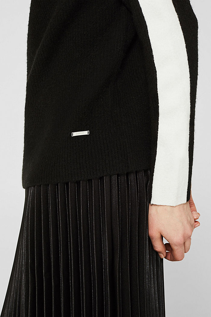 Polo neck jumper with racing stripes and wool, BLACK, detail image number 2