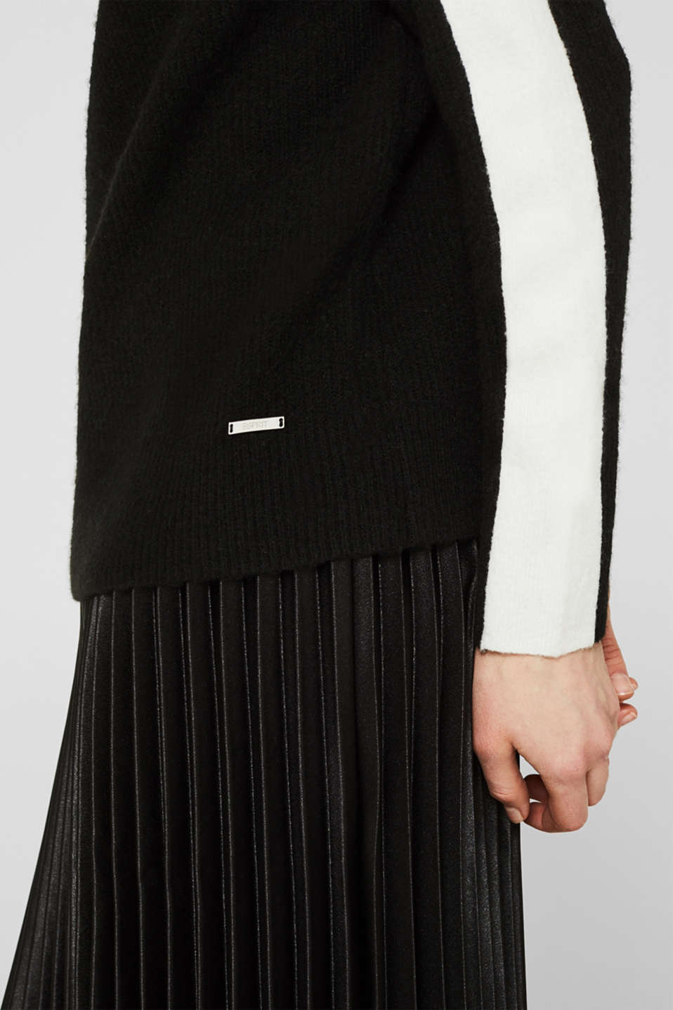 Polo neck jumper with racing stripes and wool, BLACK 2, detail image number 2