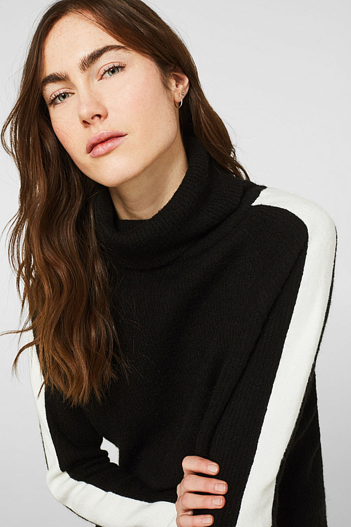Polo neck jumper with racing stripes and wool, BLACK, detail image number 5