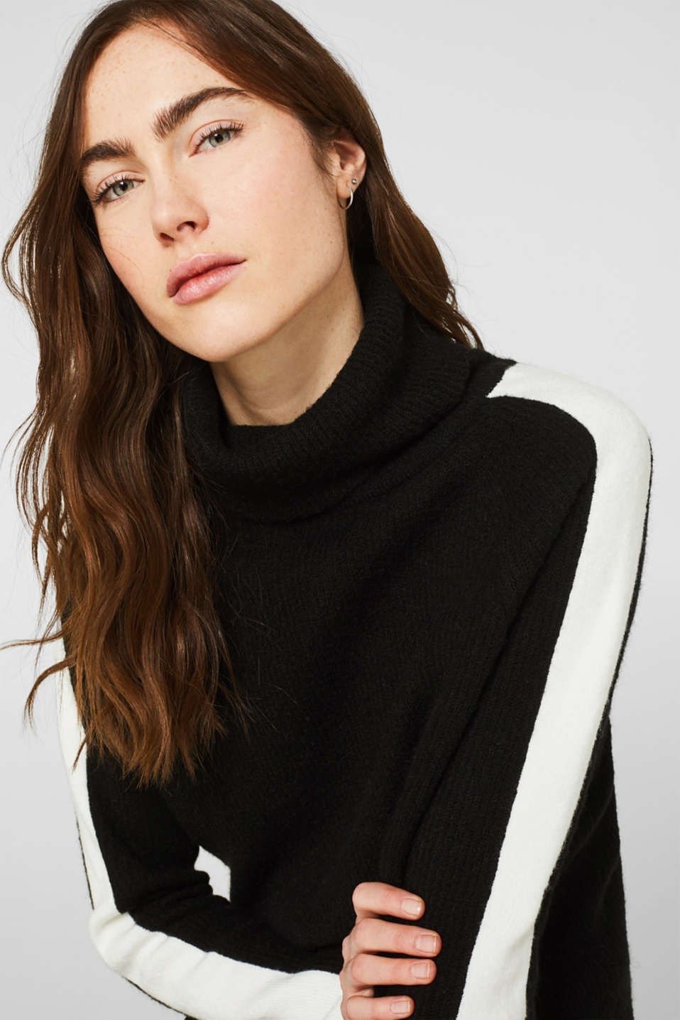 Polo neck jumper with racing stripes and wool, BLACK 2, detail image number 5