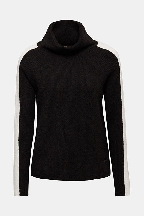 Polo neck jumper with racing stripes and wool