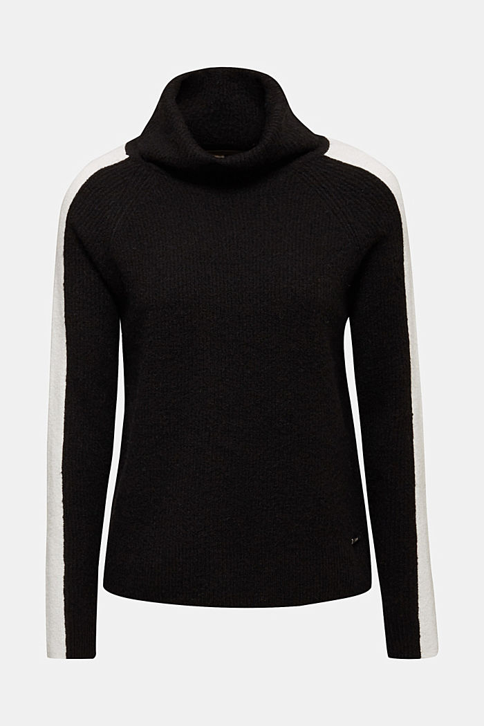 Polo neck jumper with racing stripes and wool, BLACK, detail image number 6