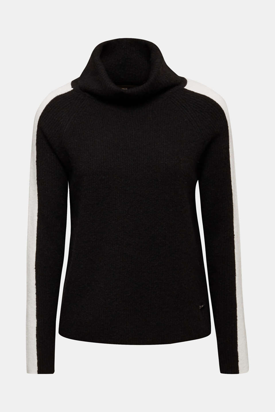 Polo neck jumper with racing stripes and wool, BLACK 2, detail image number 6