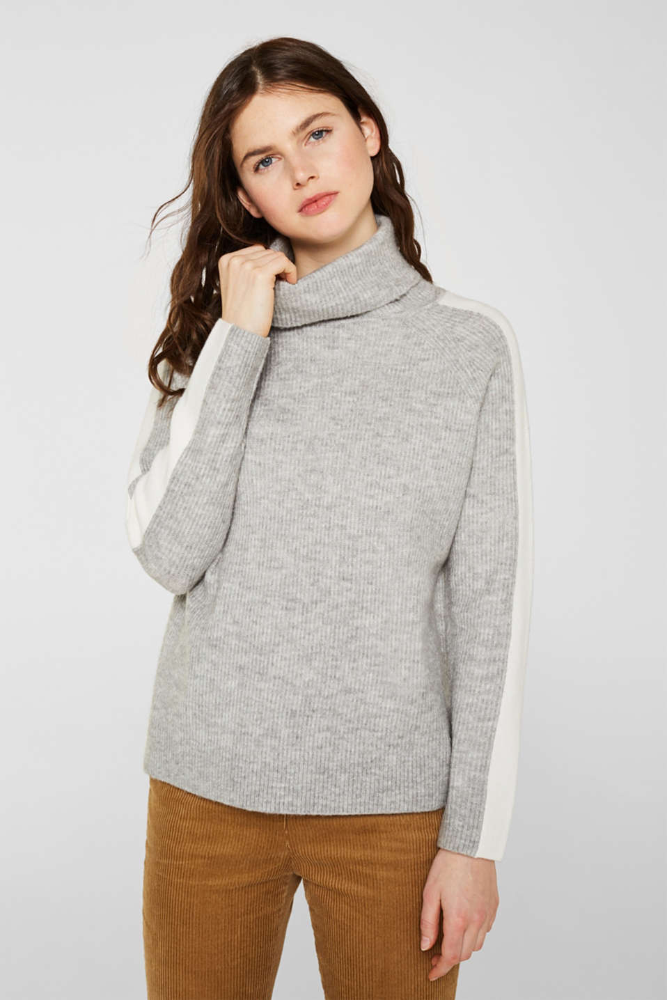 Polo neck jumper with racing stripes and wool, LIGHT GREY 2, detail image number 0