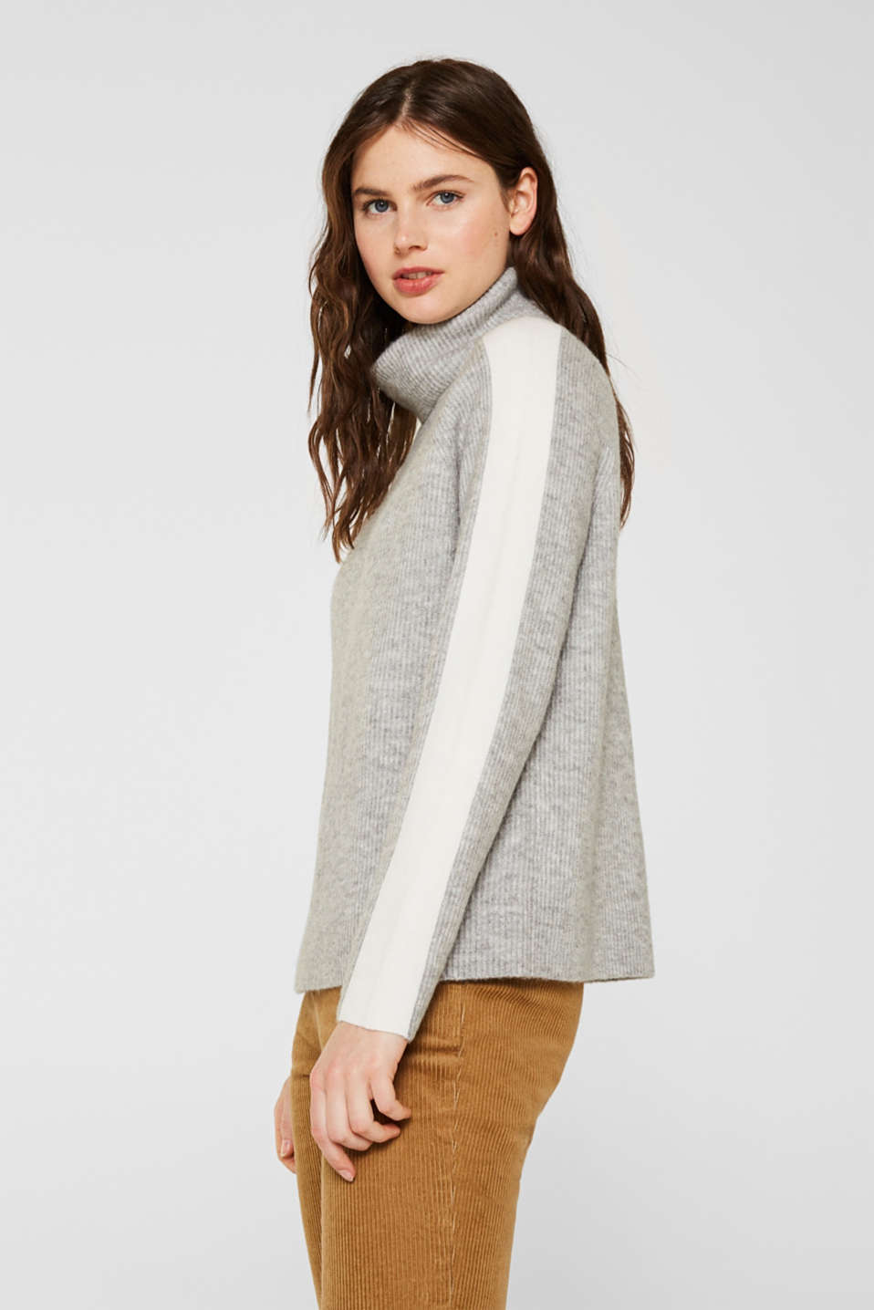 Polo neck jumper with racing stripes and wool, LIGHT GREY 2, detail image number 5
