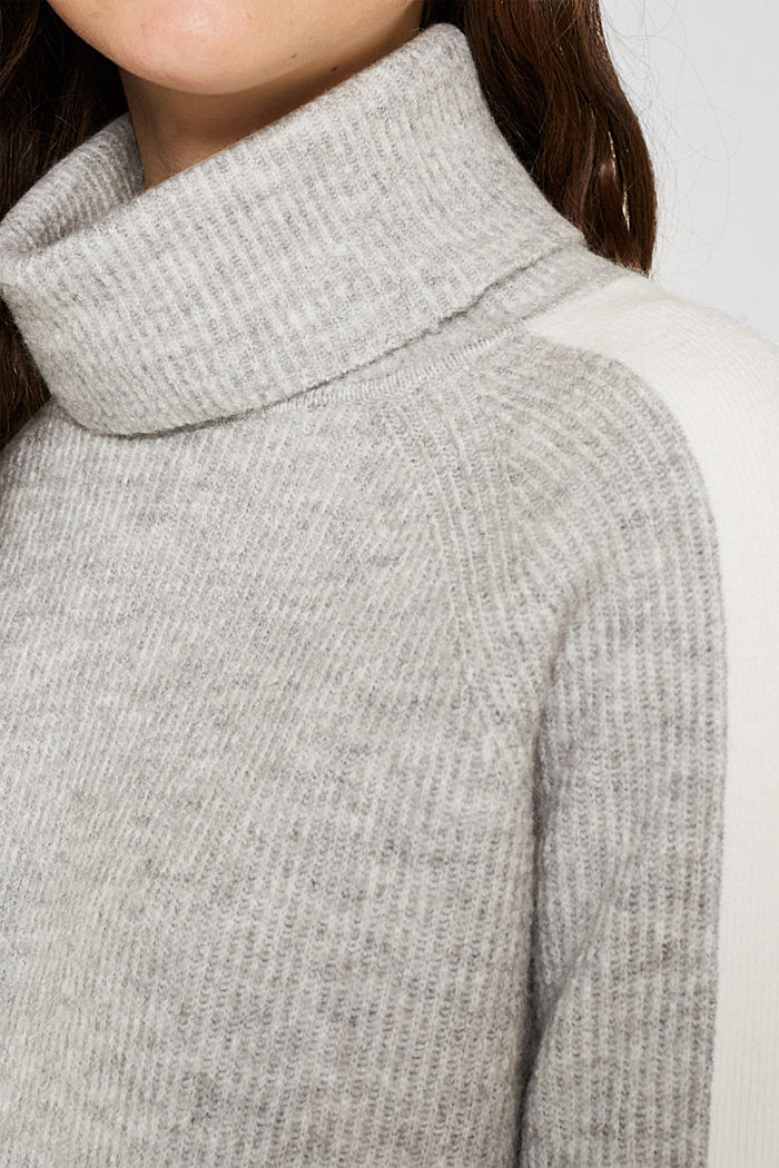 Polo neck jumper with racing stripes and wool, LIGHT GREY, detail image number 2