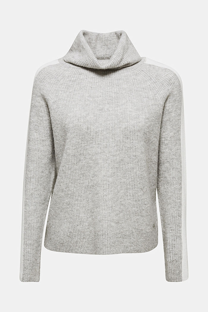 Polo neck jumper with racing stripes and wool, LIGHT GREY, detail image number 6