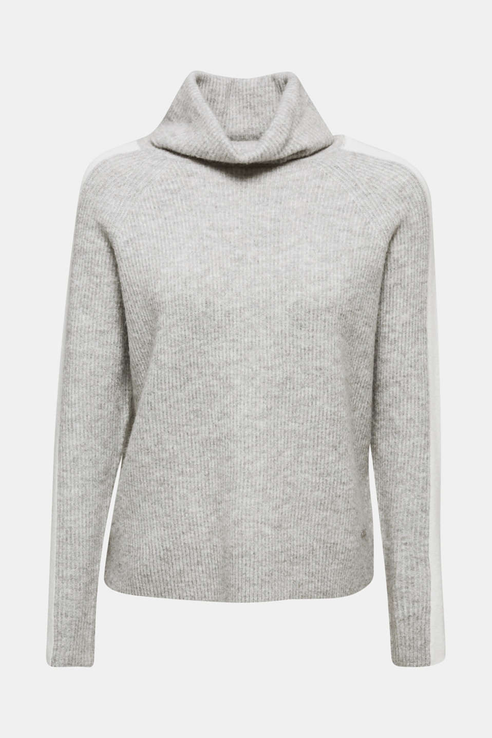 Polo neck jumper with racing stripes and wool, LIGHT GREY 2, detail image number 6
