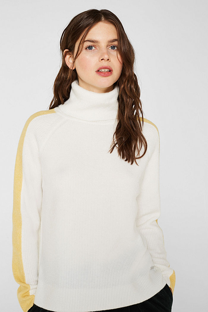 Polo neck jumper with racing stripes and wool, OFF WHITE, detail image number 0