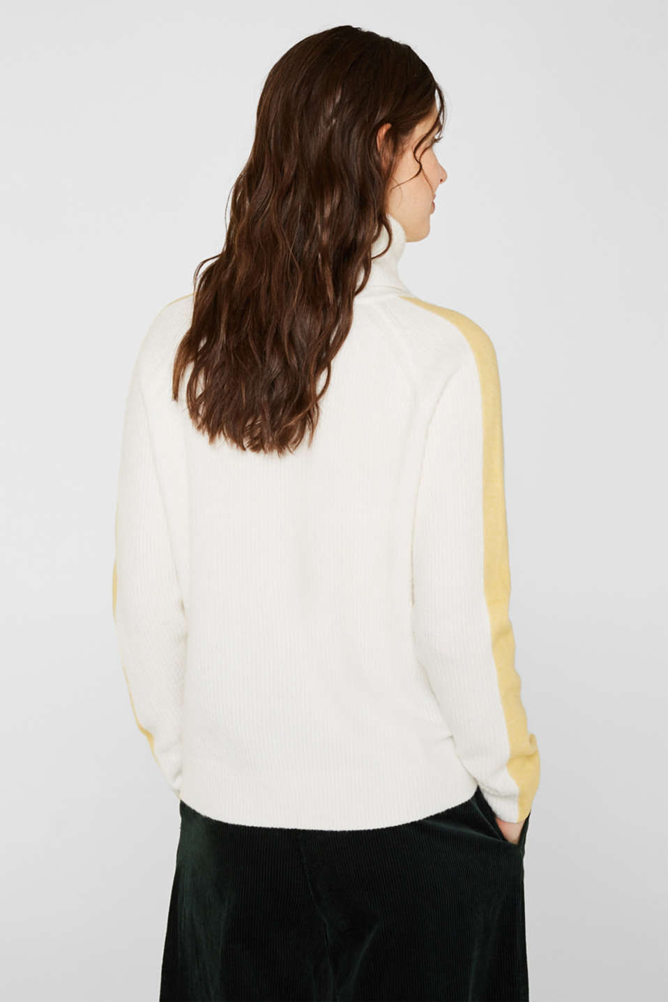 Polo neck jumper with racing stripes and wool, OFF WHITE 2, detail image number 3