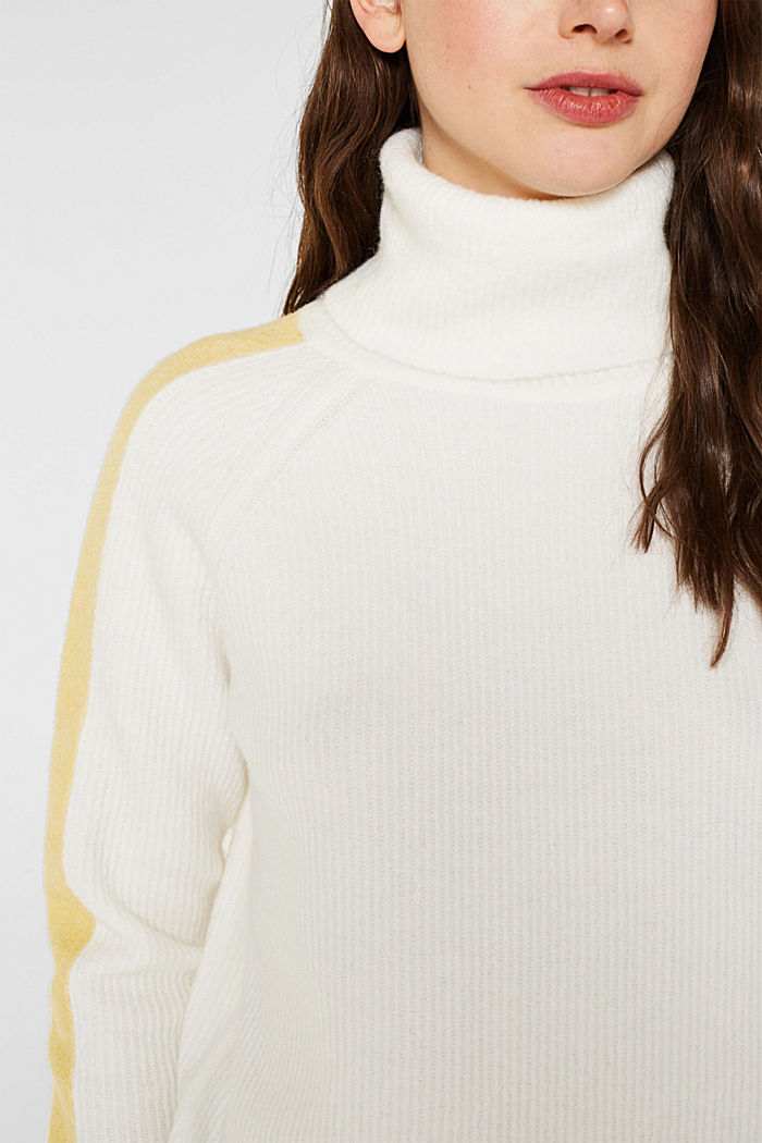 Polo neck jumper with racing stripes and wool, OFF WHITE, detail image number 2