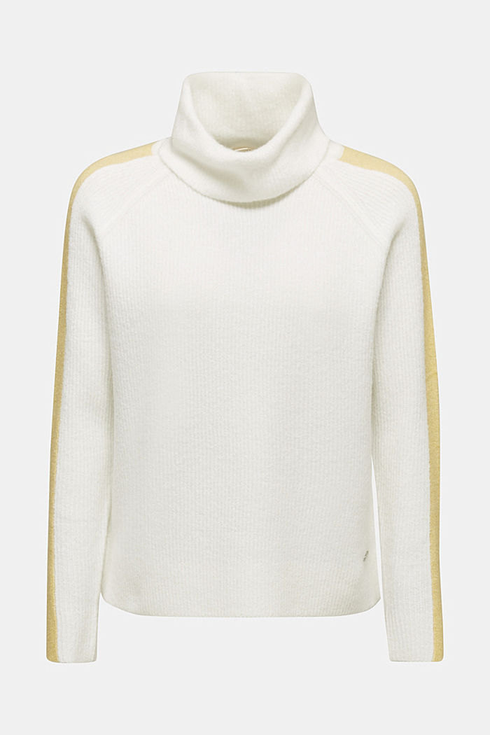Polo neck jumper with racing stripes and wool, OFF WHITE, detail image number 6