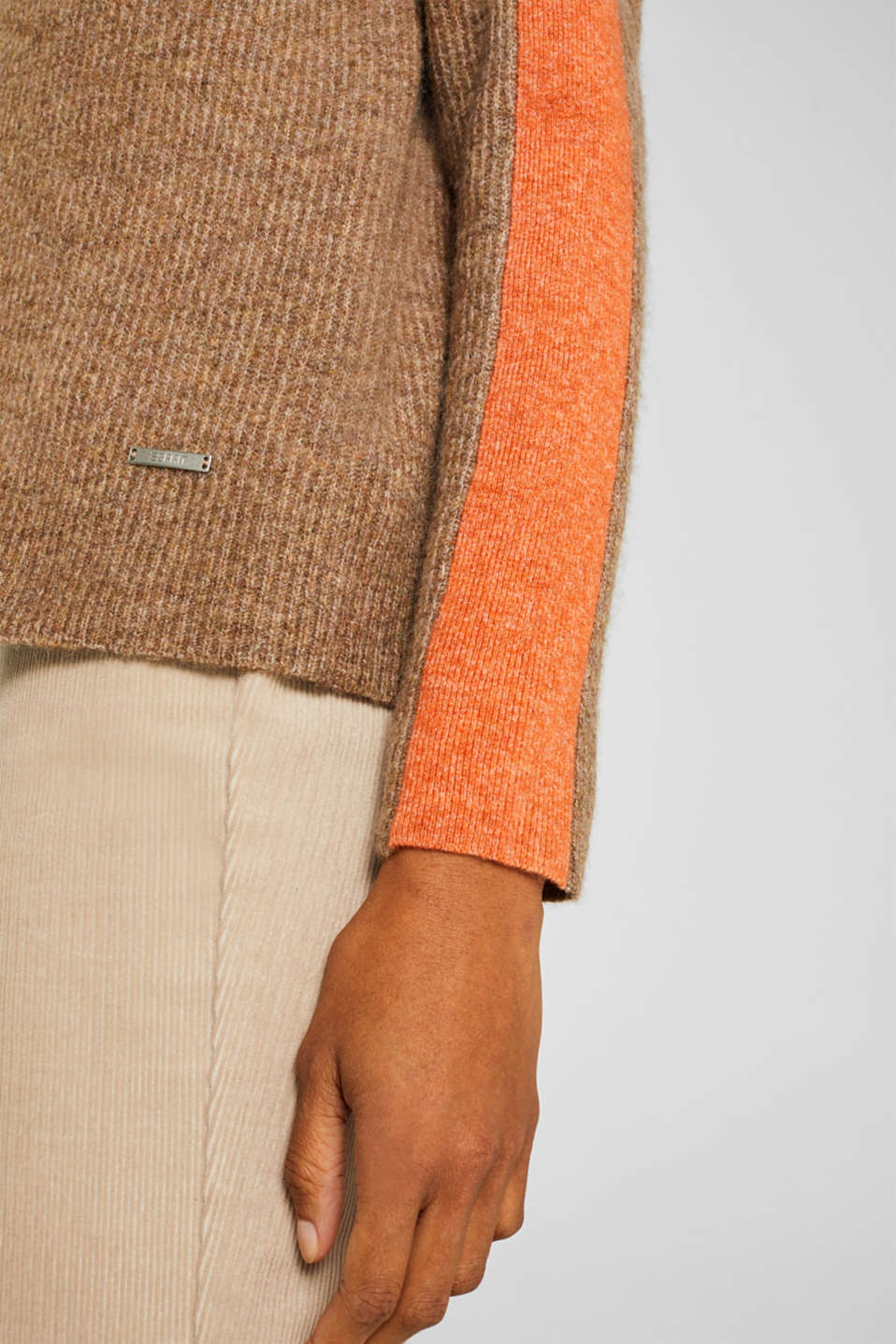 Polo neck jumper with racing stripes and wool, CAMEL 4, detail image number 2
