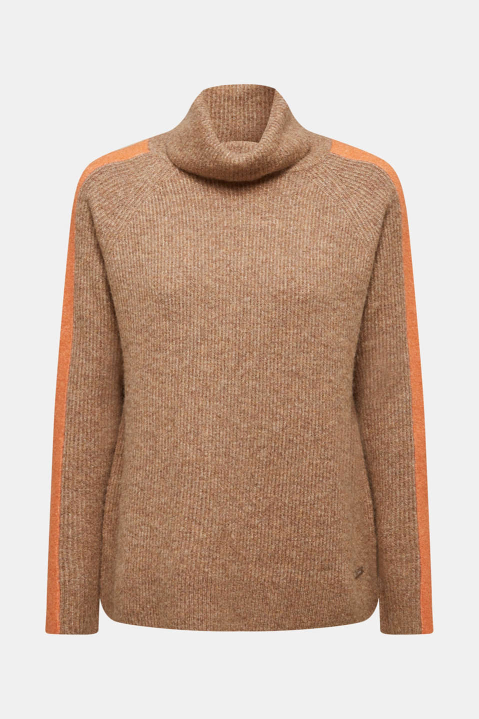 Polo neck jumper with racing stripes and wool, CAMEL 4, detail image number 7