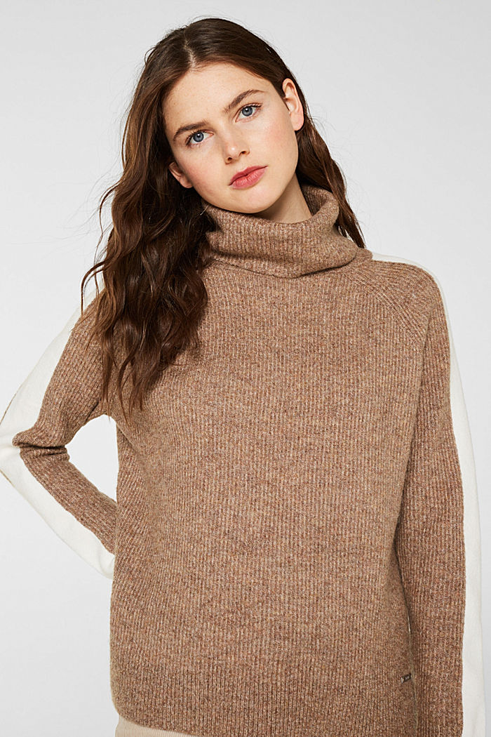 Polo neck jumper with racing stripes and wool, CAMEL, detail image number 0