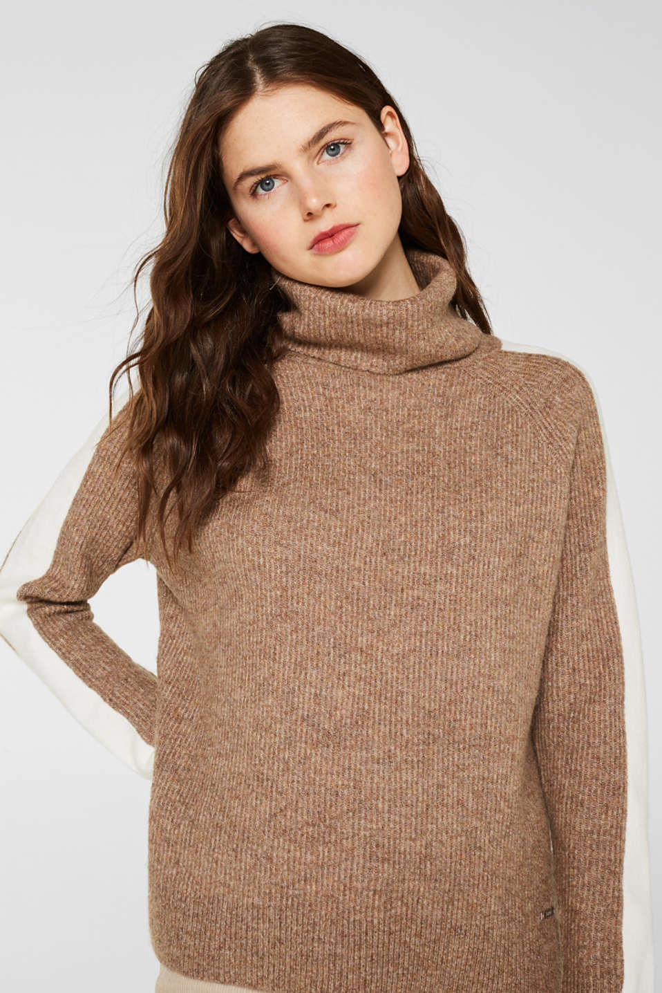 Polo neck jumper with racing stripes and wool, CAMEL 5, detail image number 0