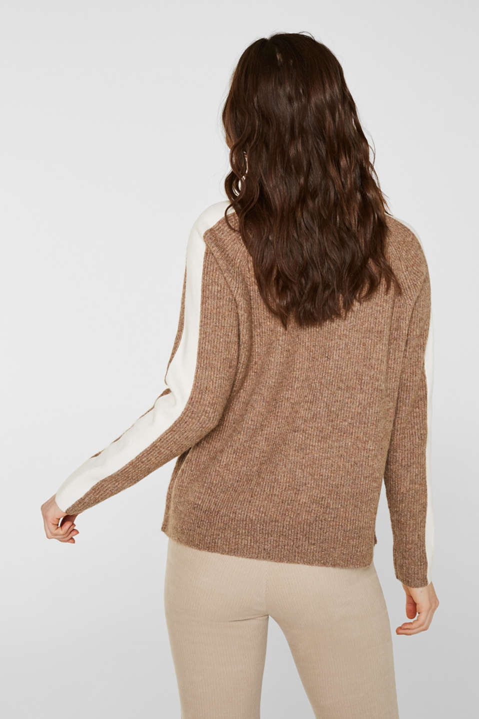 Polo neck jumper with racing stripes and wool, CAMEL 5, detail image number 3