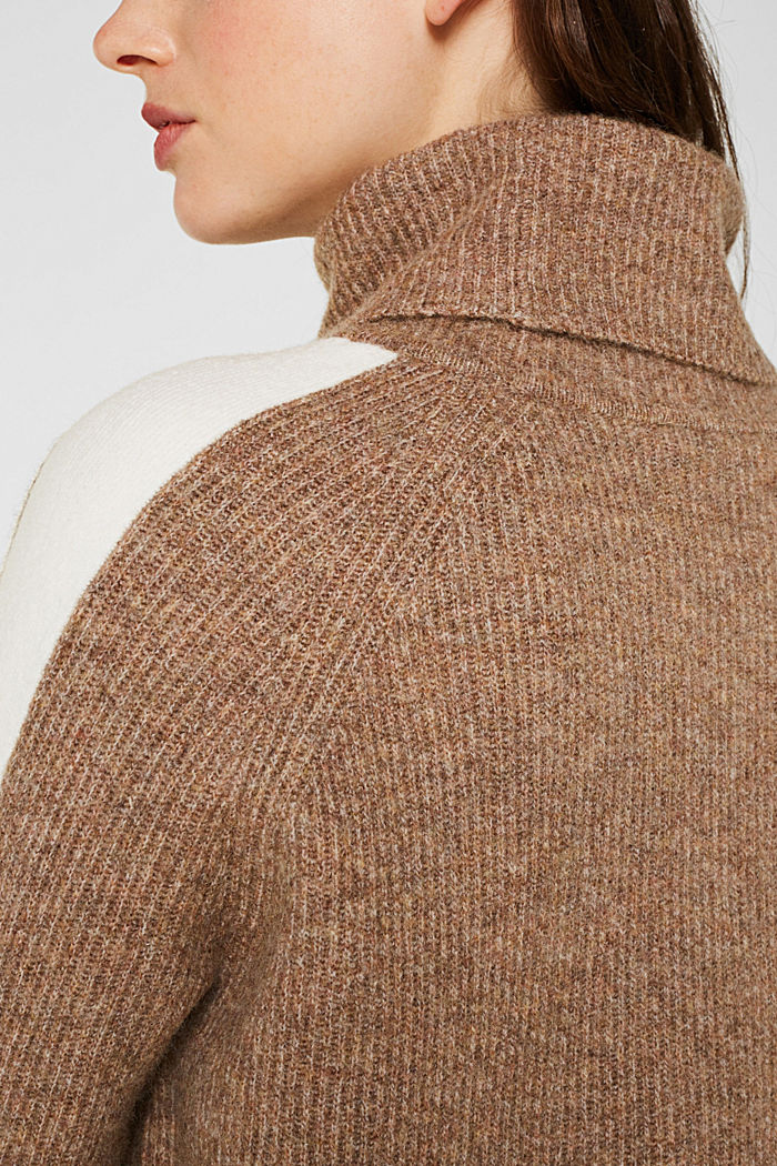 Polo neck jumper with racing stripes and wool, CAMEL, detail image number 2
