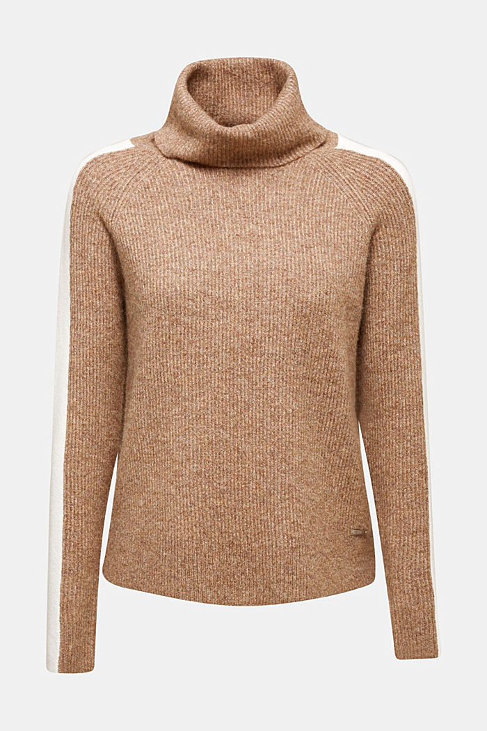 Polo neck jumper with racing stripes and wool, CAMEL, detail image number 6