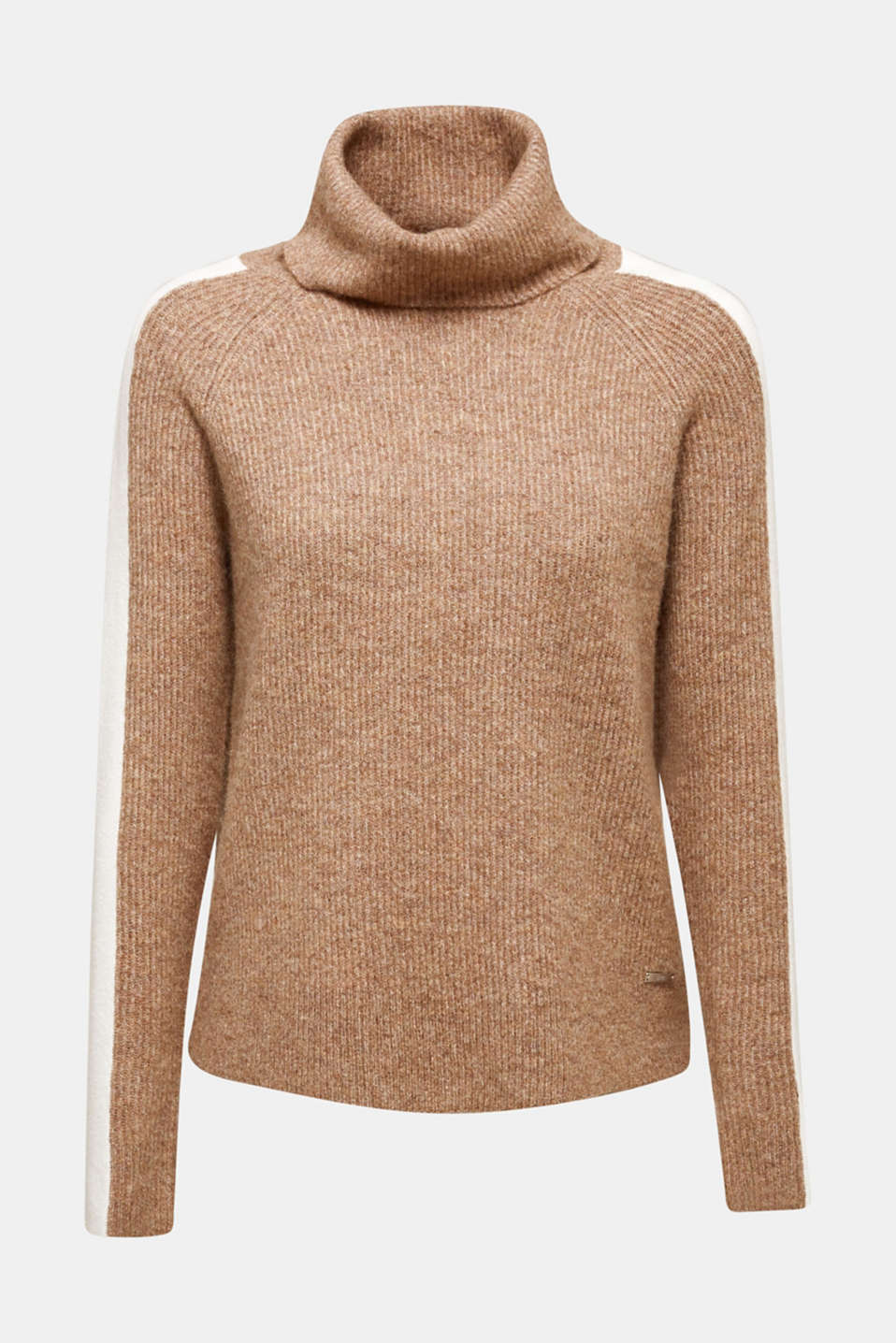 Polo neck jumper with racing stripes and wool, CAMEL 5, detail image number 6