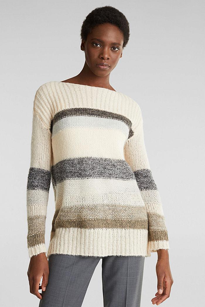 Met wol/alpaca: lange trui met strepen, BEIGE, detail image number 0