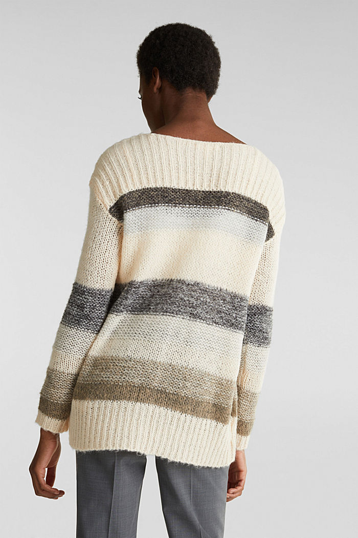 Long, striped jumper made with wool and alpaca , BEIGE, detail image number 2
