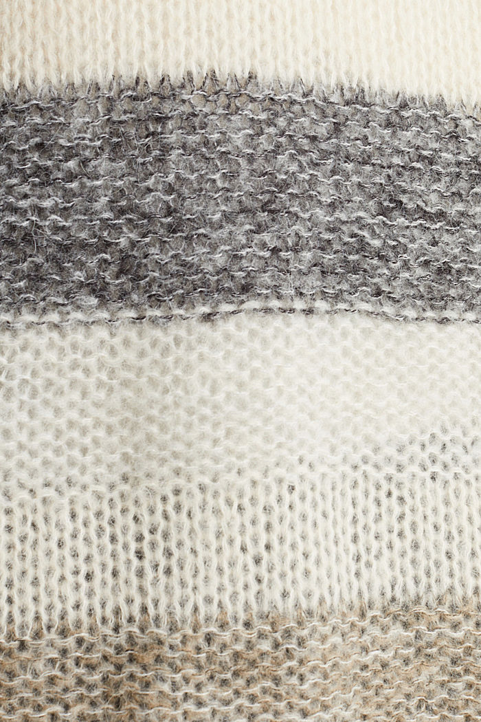 Long, striped jumper made with wool and alpaca , BEIGE, detail image number 3