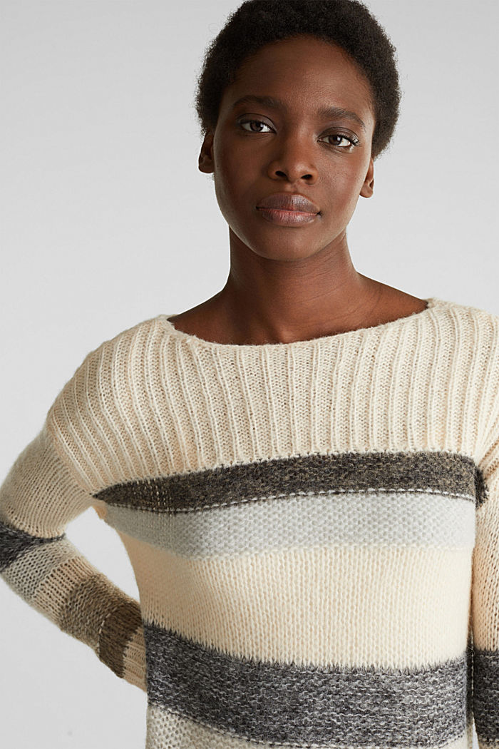 Long, striped jumper made with wool and alpaca , BEIGE, detail image number 5