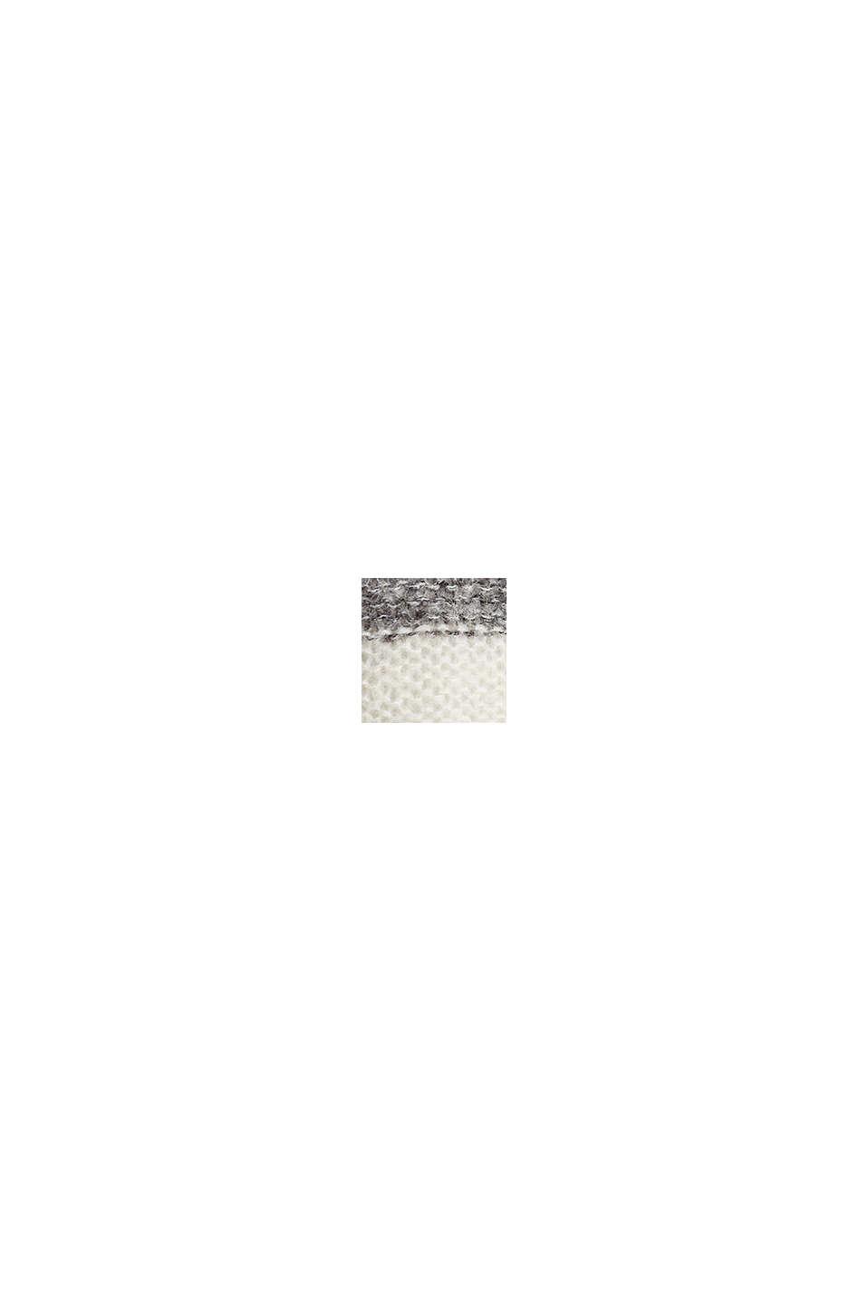 Mit Wolle/Alpaka: Long-Pullover mit Streifen, BEIGE, swatch