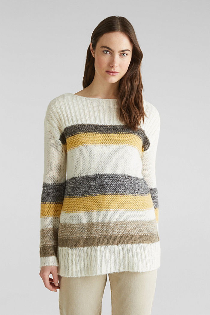 Long, striped jumper made with wool and alpaca , DUSTY YELLOW, detail image number 0