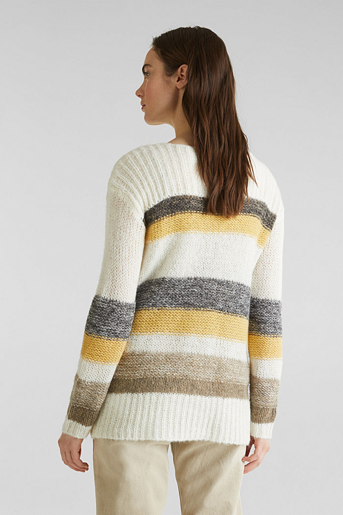 Long, striped jumper made with wool and alpaca , DUSTY YELLOW, detail image number 3