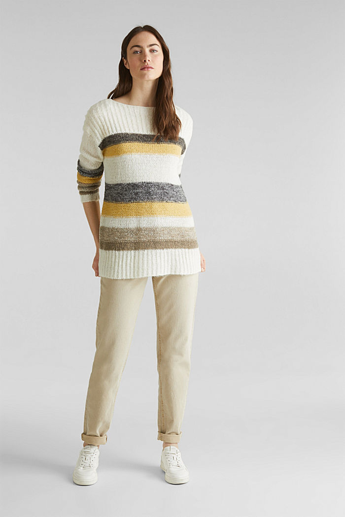 Long, striped jumper made with wool and alpaca , DUSTY YELLOW, detail image number 1