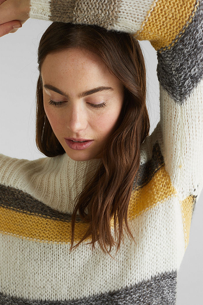 Long, striped jumper made with wool and alpaca , DUSTY YELLOW, detail image number 2
