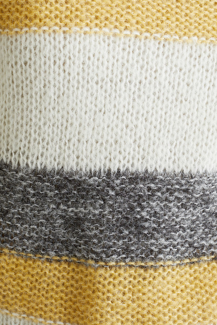 Long, striped jumper made with wool and alpaca , DUSTY YELLOW, detail image number 4