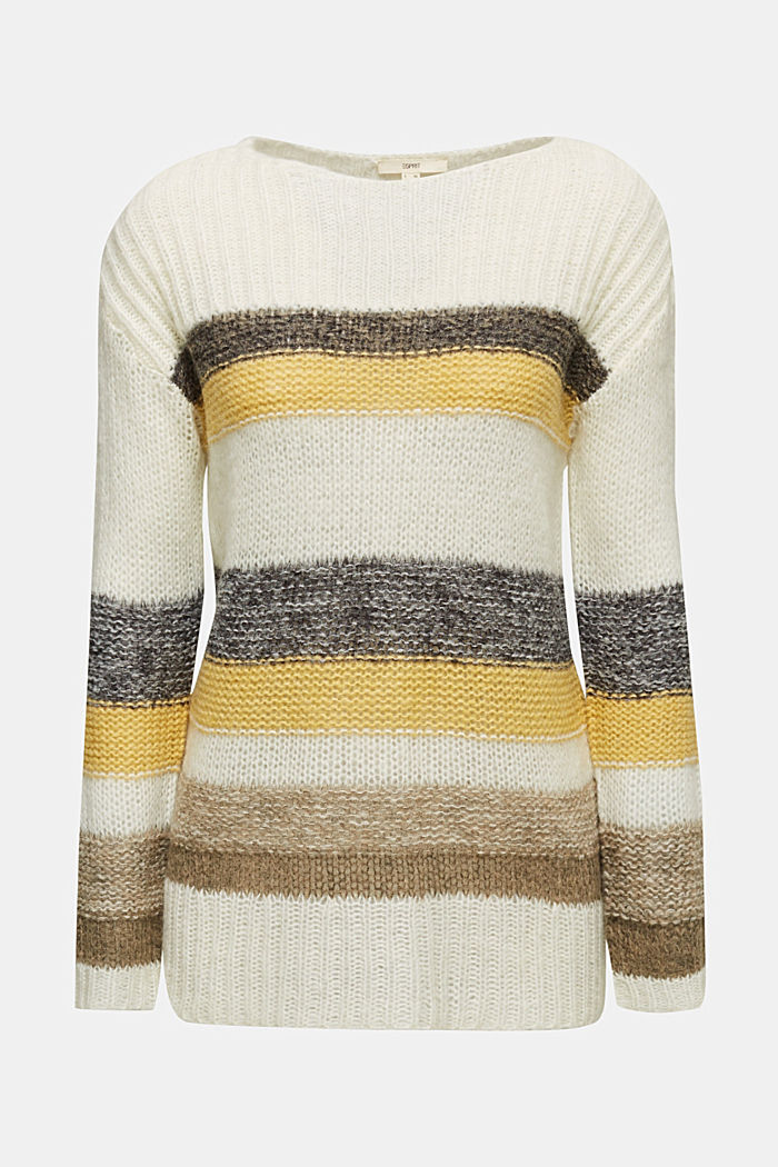 Long, striped jumper made with wool and alpaca