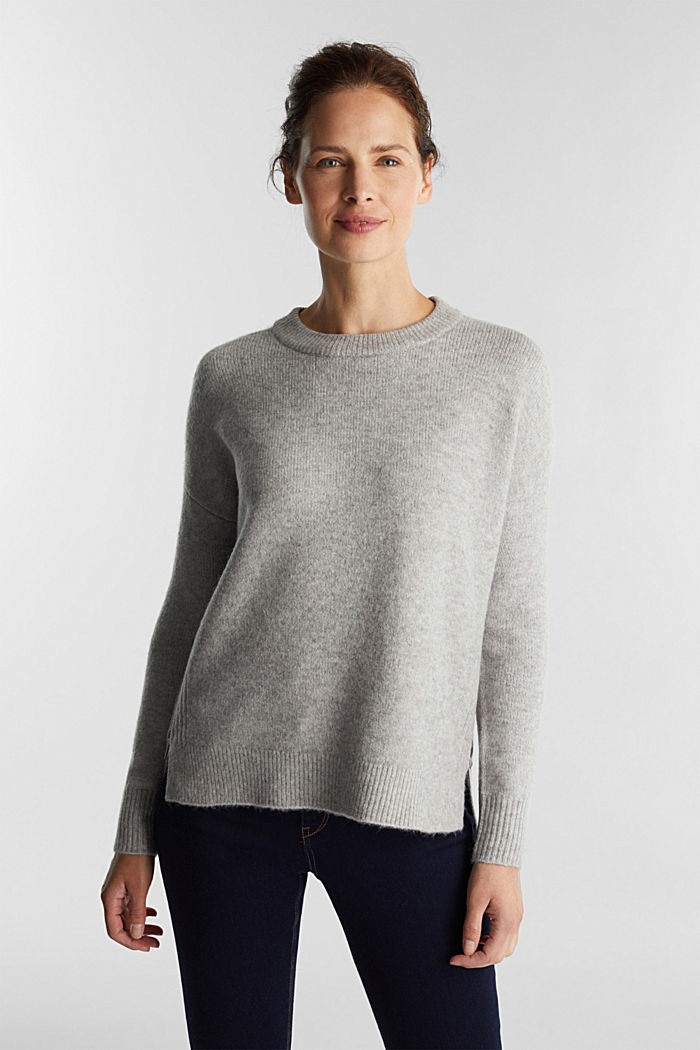 Wool blend: Jumper with zip details, LIGHT GREY, detail image number 0