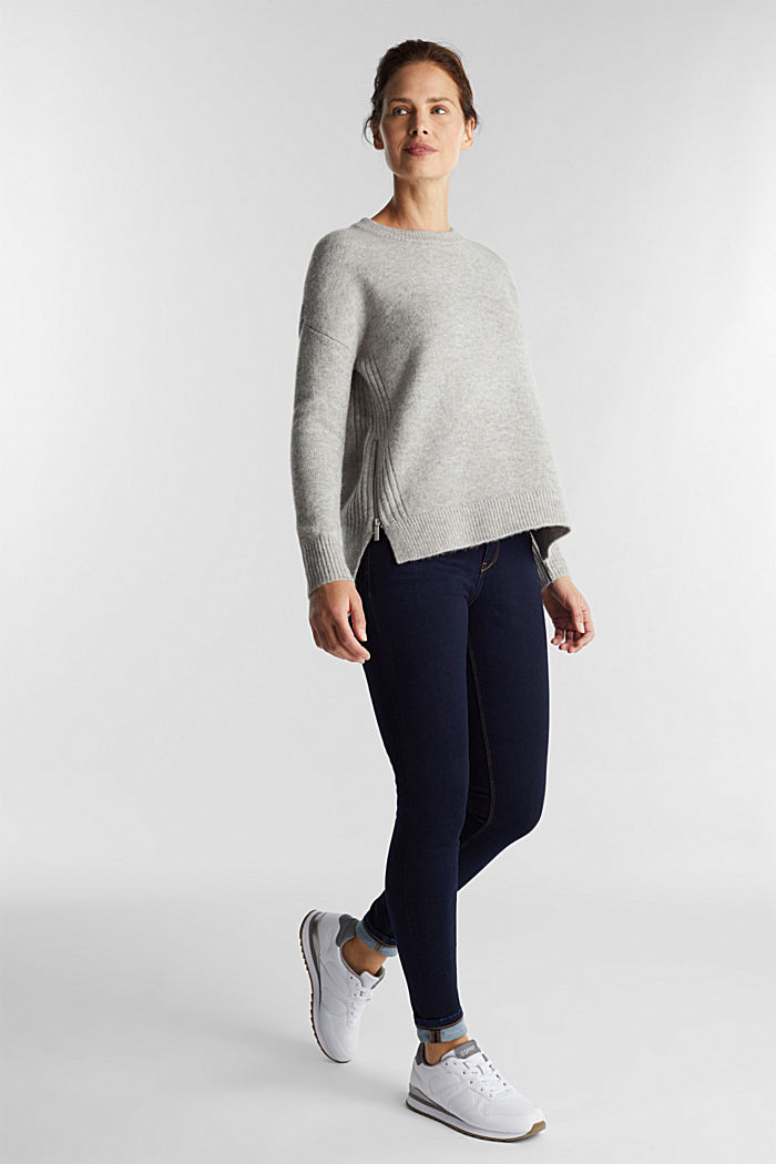Wool blend: Jumper with zip details, LIGHT GREY, detail image number 1