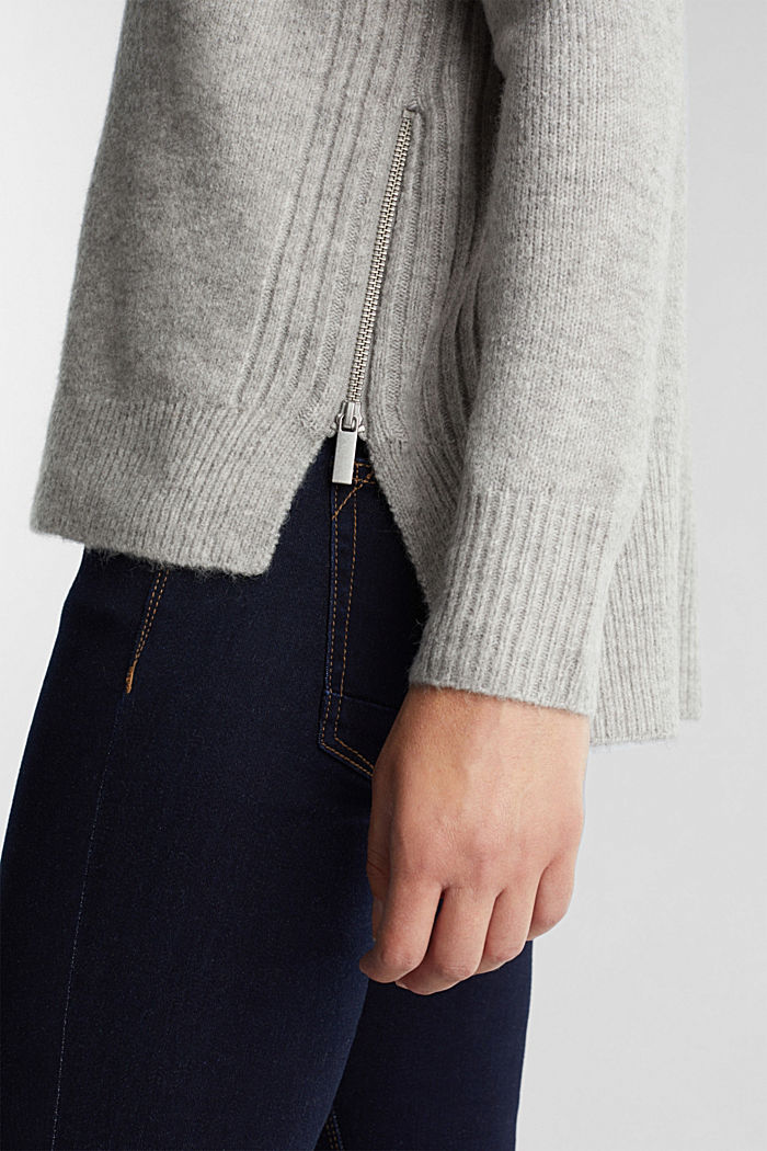 Wool blend: Jumper with zip details, LIGHT GREY, detail image number 2