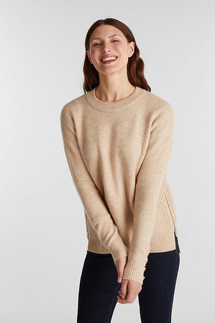 Wool blend: Jumper with zip details, CAMEL, detail image number 0