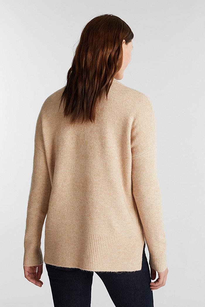 Wool blend: Jumper with zip details, CAMEL, detail image number 3