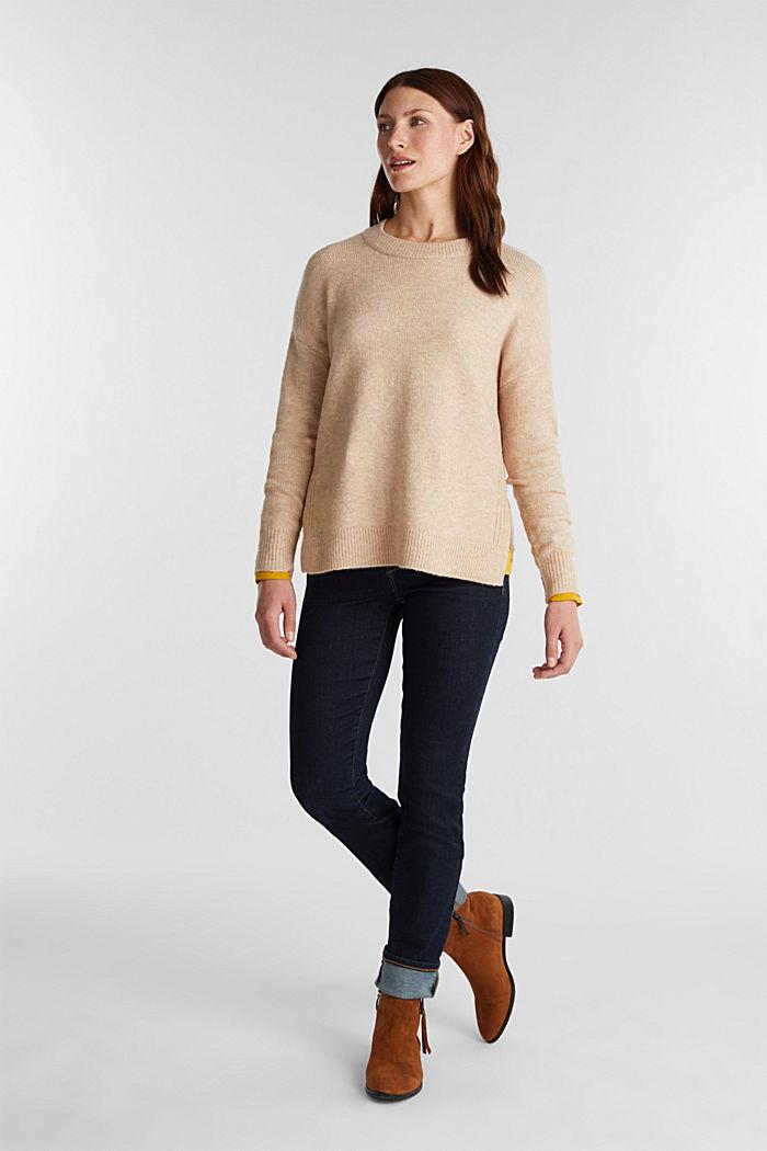 Wool blend: Jumper with zip details, CAMEL, detail image number 1